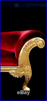 RIGHT HAND GOLD LEAF Hampshire chaise longue sofa (MEDIUM) with RED VELVET