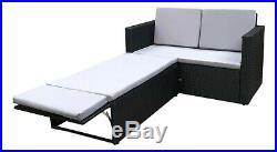 Rattan Outdoor Garden Sofa Furniture Love Bed Patio Sun bed 2 seater Black New