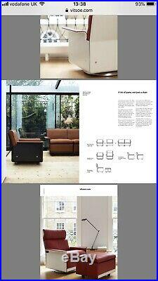Red Leather Lounge Chair By Dieter Rams for Vitsoe With footstool