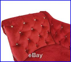 Red Velvet Tufted Buttoned Chesterfield Chaise Lounge Bedroom Accent Chair