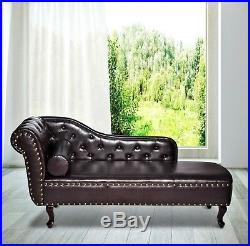 Relaxing Chaise Longue Brown Vintage Chair Chesterfield Lounge Tufted Couch Sofa
