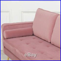 Retro Art Deco Style Pink Velvet Chaise Longue With Gold Legs Lounge Day Bed