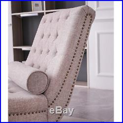 Retro Chaise Longue with Pillow for Home Lounge Sofa Longue Bed Beige