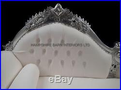 Right Hand Ornate Chaise Silver Leaf White Faux Leather Medium Events Shop