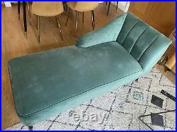 Right Hand Velvet Chaise Lounge Green With Walnut / Gold Legs