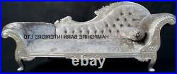 Right Handed Large French Chaise Longue Silver Leaf Mercury Grey Crystal Sofa
