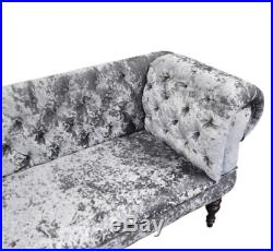 SILVER CRUSHED VELVET Fabric Double Ended Chaise Longue Slipper Sofa