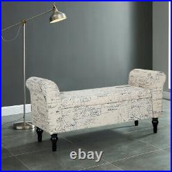 Shabby Vanity Bench Bed End Chaise Longue Sofa Storage Window Wall Side Seat Uk