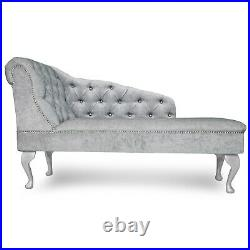 Silver Chenille Buttoned Chesterfield Tufted Chaise Lounge Accent Chair Bedroom