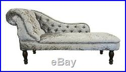 Silver Crushed Velvet Chesterfield Chaise Lounge Sofa Bedroom Accent Chair Bench