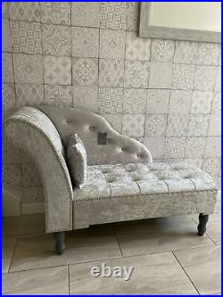 Silver Grey Crushed Velvet Upholstered Chaise Longue Sofa Bench (z807)