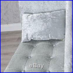 Silver Grey Crushed Velvet Upholstered Fabric Chaise Longue Sofa Chair (z807)