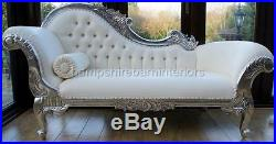 Silver Ornate French Style Chaise Longue Lounge Sofa White Faux Leather Crystal