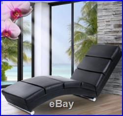 Small Chaise Longue Faux Leather Furniture Sofa Bed Chair Black Seat Modern Room