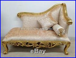Small Chaise Longue Ornate Gold Leaf Cream Crushed Velvet Neoclassical Sofa