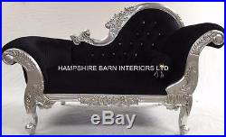 Small French Chaise Longue Silver Leaf Black Velvet Crystal Sofa Lounge Bedroom