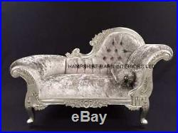 Small French Chaise Longue Silver Leaf Mercury Grey Crystal Sofa Lounge Bedroom