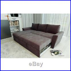 Stanford Universal Brown Corner Sofa Bed L Shape with Lift Up Storage Fabric