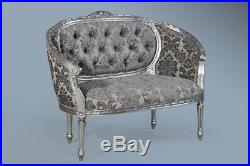 Statement French Antique Silver Grey Daybed Double Loveseat Sofa Chaise Longue