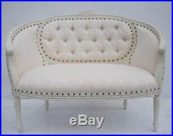 Statement French White Ivory Ornate Day bed Double Loveseat Sofa Chaise Longue