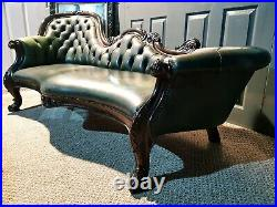 Stunning & Rare Vintage Chesterfield Chaise Lounge In A Parliament Green Leather