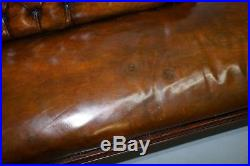 Stunning Restored Victorian Chesterfield Aged Brown Leather Chaise Lounge Daybed
