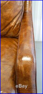 Tanned Brown Leather Chaise Lounge