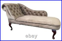 Taupe Velour Tufted Chesterfield Chaise Lounge Sofa Bedroom Chair Bench