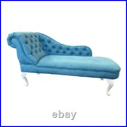 Teal Linen Tufted Chesterfield Chaise Lounge Sofa Bedroom Chair Bench