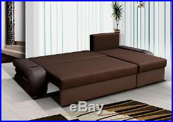 UNIVERSAL Corner Sofa Bed with Two Storages. Brown Soft Fabric, Modern Look