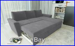 Universal Stanford L Shape Corner Sofa Bed Lift Up Storage Fabric Charcoal Grey