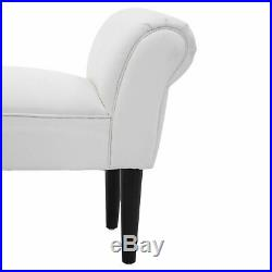 Upholstered MDF Bedroom Chaise Lounge Bench White