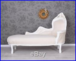 VINTAGE SOFA CHAISELONGUE RECAMIERE Landhaus Ottomane Sofabank Couch Weiss