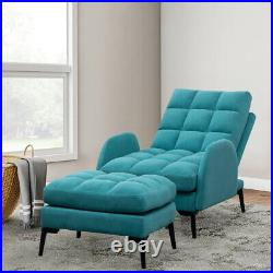 Velvet Armchair Recliner Sleep Chaise Longue Sofa Bed Chair withStool Padded Seat