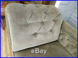 Victorian Chaise Longue Antique Day Bed Sofa Mushroom Grey Dralon Upholstery