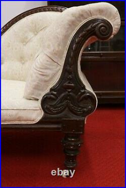 Victorian Chaise Longue Mahogany Coil Sprung Ornate Carved Sofa Chair Antique
