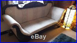 Victorian Mahogany Double Ended Chaise Longue Sofa. With Carved Wood Detail Beige