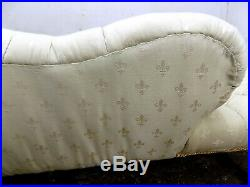 Victorian, small, button back, yellow, chaise longue, walnut legs, sofa, curved, chaise