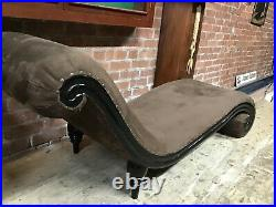 Vintage Antique Chaise Lounge Wooden scroll base with Velvet seat cushion