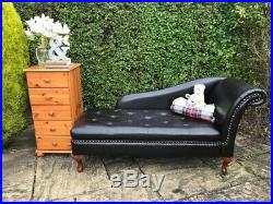Vintage Black Chesterfield Chaise Lounge Faux Leather Day Bed Antique Ottoman