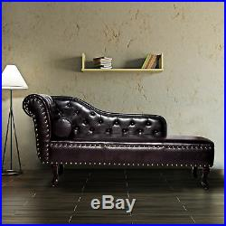Vintage Faux Leather Chaise Longue Lounge Sofa Bed Bolster Cushion