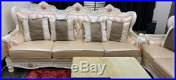 Vintage Faux Leather Chaise Longue Lounge Sofa Bed with 2 large marble tables