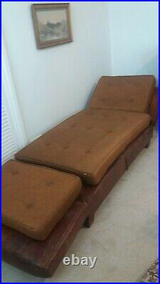 Vintage French leather chaise longue / small sofa