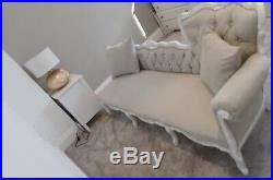 Vintage Louis Baroque French Style Sofa Chaise Longue in Grey