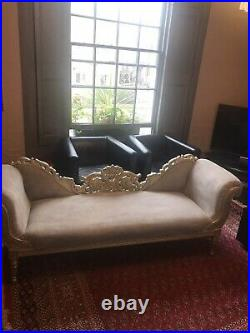 Wedding Seat Gold Antique French Sofa Chaise Longue Double Back Louis XV