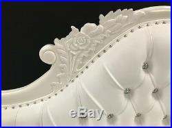 White French Style Chaise Longue Sofa Carved Faux Leather Crystal Left Hand
