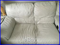White Leather corner settee sofa electric reclining chair Chaise Longue Right