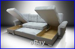 XXL Bed U Shaped Corner Sofa Bed''sally'' Eco Leather And Soft Waffle Fabric